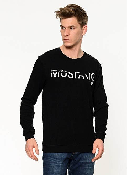 Mustang Baskılı Bisiklet Yaka Sweatshirt Siyah